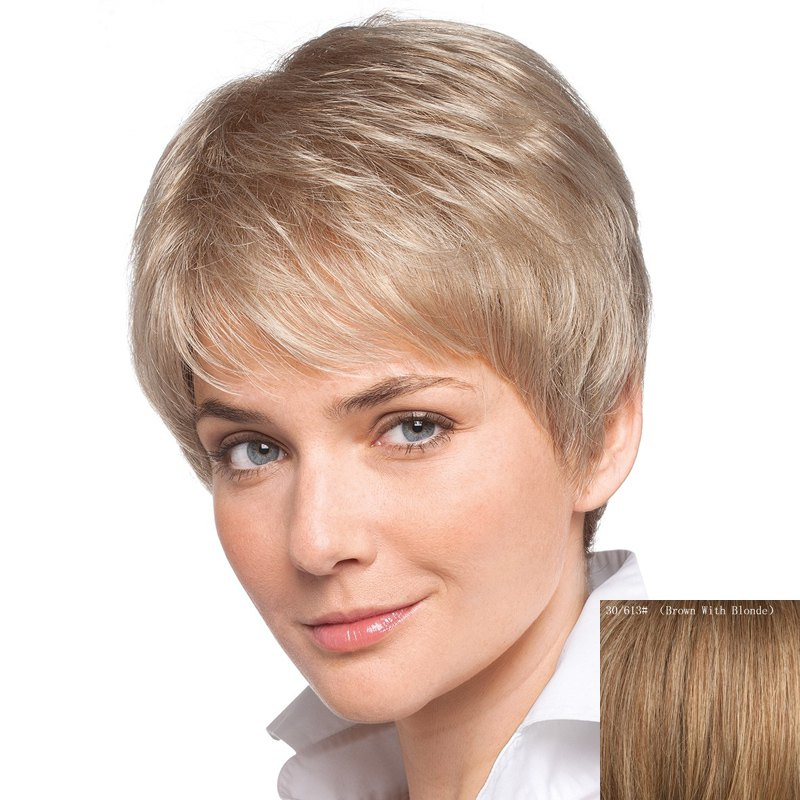 Women's Inclined Bang Short Human Hair Wig