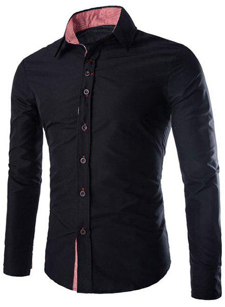 Elegant Turn-Down Collar Plaid Splicing Long Sleeve Men's Shirt - BLACK M