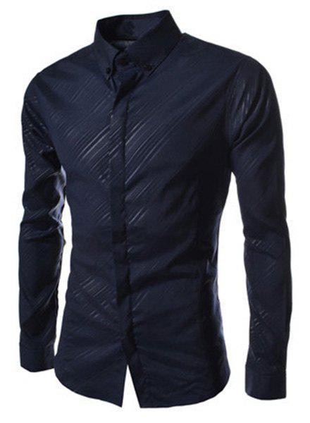 Elegant Turn-Down Collar Long Sleeve Men's Button-Down Shirt