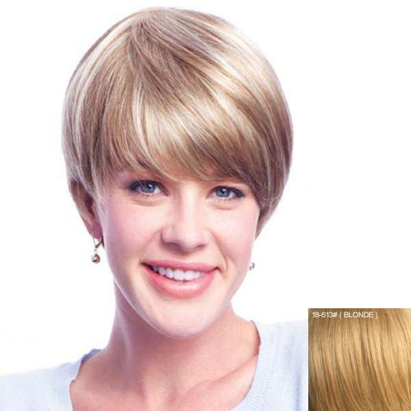 Women's Short Neat Bang Human Hair Wig