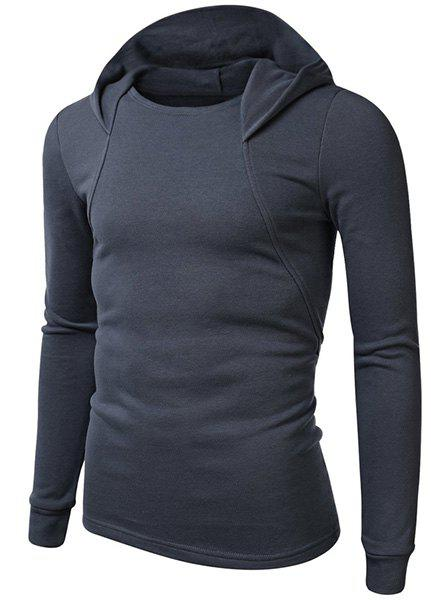 Hooded solide Hoodie Couleur manches longues hommes Simple - Bleu Cadette XL