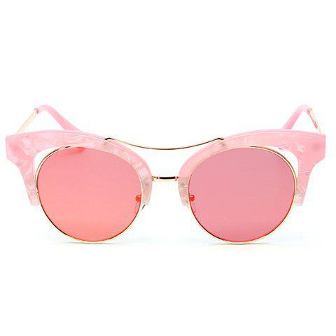 Chic Hollow Out Marble Pattern Match Women's Butterfly Sunglasses - PINK