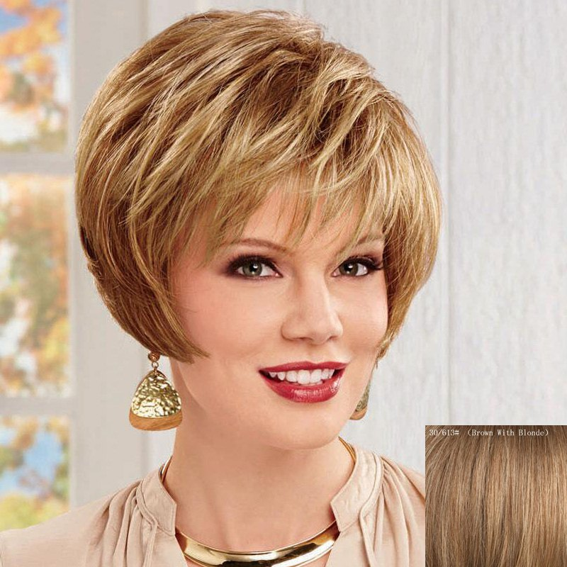 Women's Fluffy Short Side Bang Human Hair Wig - BROWN/BLONDE