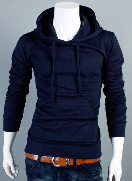 Simple Hooded Solid Color Front Pocket Long Sleeve Men's Hoodie - CADETBLUE M