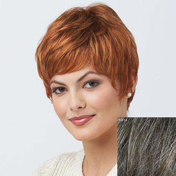 Women's Short Trendy Curly Human Hair Wig - DARKEST BROWN/GRAY