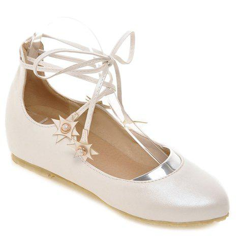 Leisure PU Leather and Faux Pearls Design Women's Flat Shoes - WHITE 38