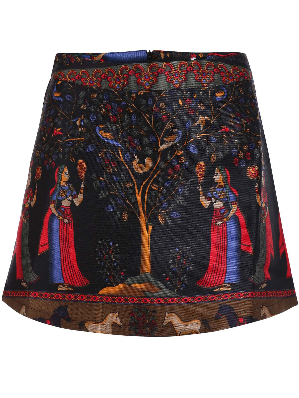 Stylish Ethnic Print High Skirt For Women - COLORMIX S