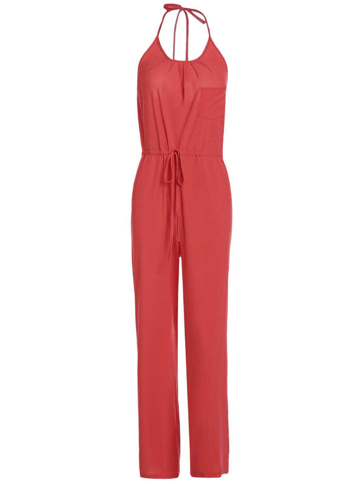 Chic Pure Color Spaghetti Strap Wide Leg Loose Jumpsuit For Women - RED S