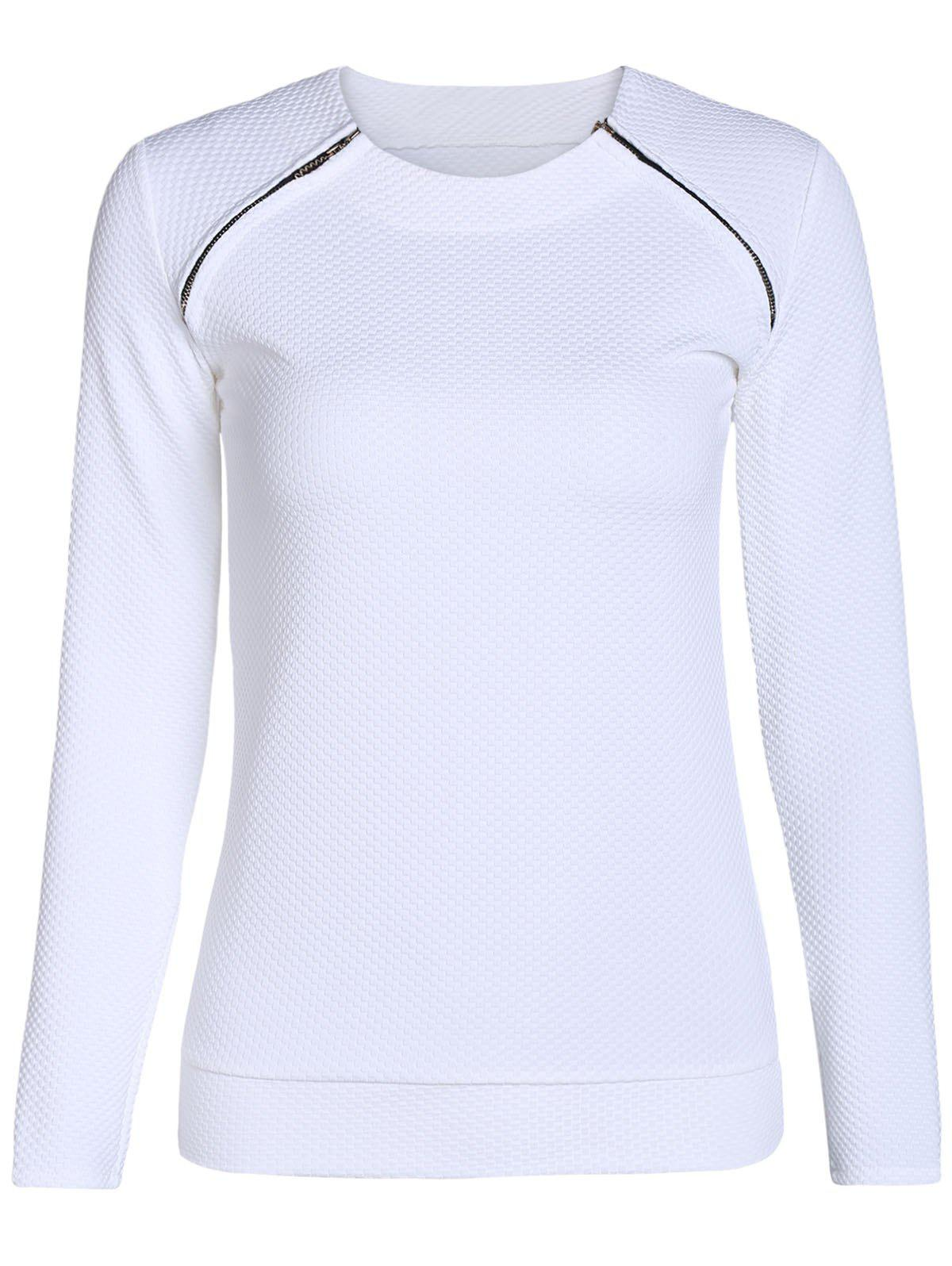 Stylish Long Sleeve Scoop Neck Zipper Design Women's Sweatshirt - WHITE S