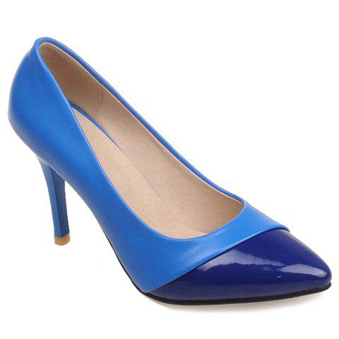Pretty Splicing and Pointed Toe Design Pumps For Women - BLUE 34