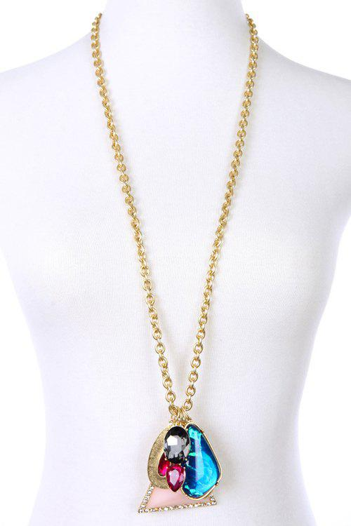 Delicate Faux Gemstone Triangle Necklace For Women - GOLDEN