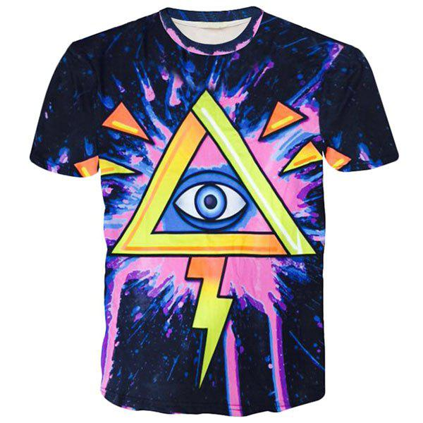 Round Neck 3D Geometric and Eye Printed Short Sleeve Men's T-Shirt - COLORMIX M
