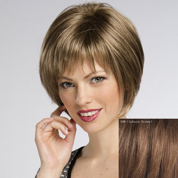Women's Straight Trendy Short Human Hair Wig