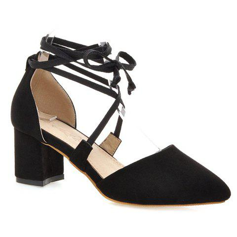 Trendy Pointed Toe and Lace-Up Design Women's Pumps - BLACK 39