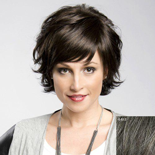 Women's Fluffy Trendy Inclined Bang Human Hair Wig - DARKEST BROWN/GRAY