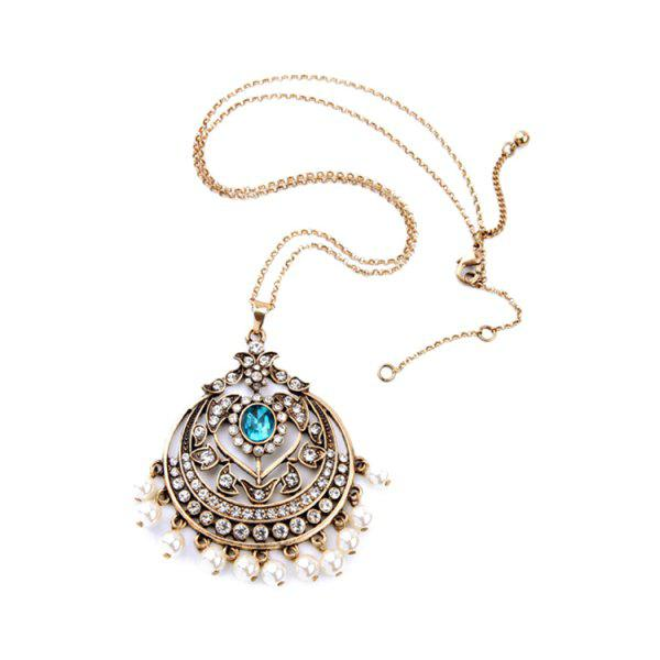Vintage Hollow Out Round Pendant Necklace For Women