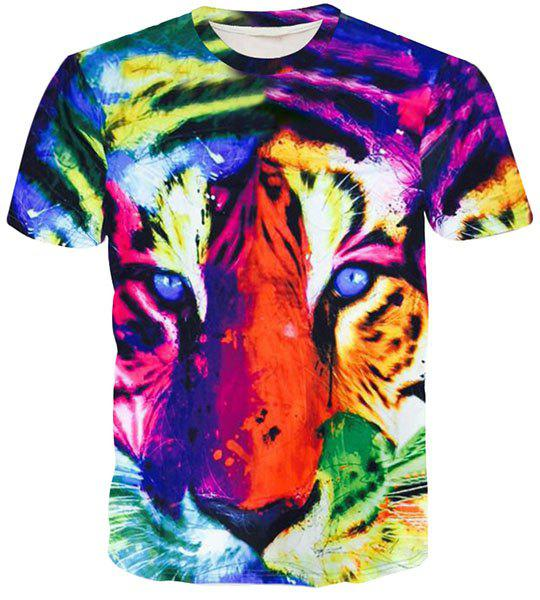 Round Neck 3D Colorful Tiger Face Printed Short Sleeve Men's T-Shirt dreamr new white cap sleeve burnout tiger face t shirt s $38 dbfl