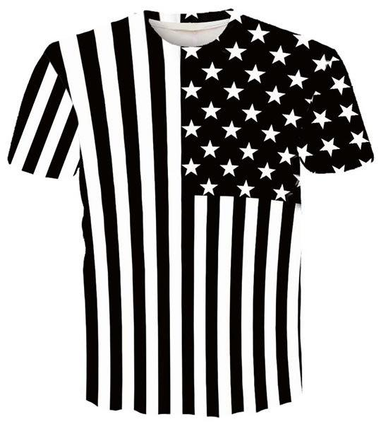 Round Neck 3D Stripe and Star Printed Short Sleeve Men's T-Shirt - WHITE/BLACK M