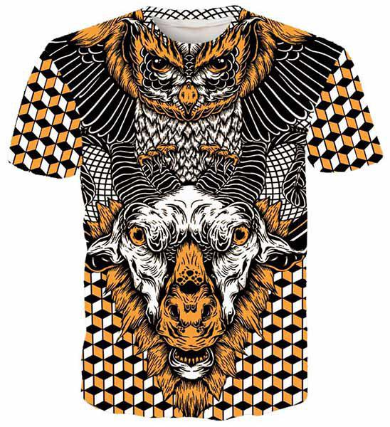 Round Neck 3D Geometric Eagle and Goat Printed Short Sleeve Men's T-Shirt - COLORMIX XL