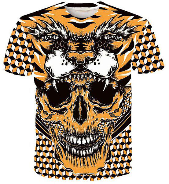 Round Neck 3D Geometric Tiger and Skull Printed Short Sleeve Men's T-Shirt