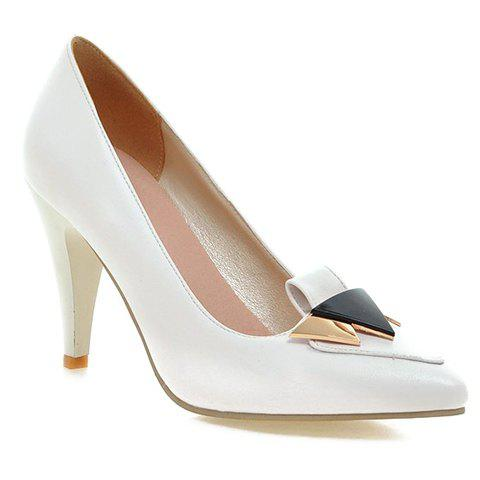 Fashionable Stiletto Heel and Metal Design Women's Pumps - WHITE 39