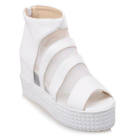 Stylish PU Leather and Wedge Heel Design Sandals For Women - 36 WHITE