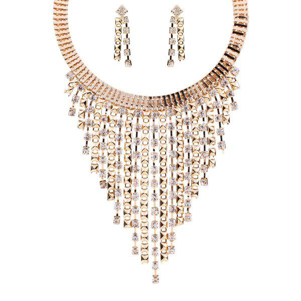 A Suit of Stylish Rhinestone Tassel Necklace and Earrings For Women