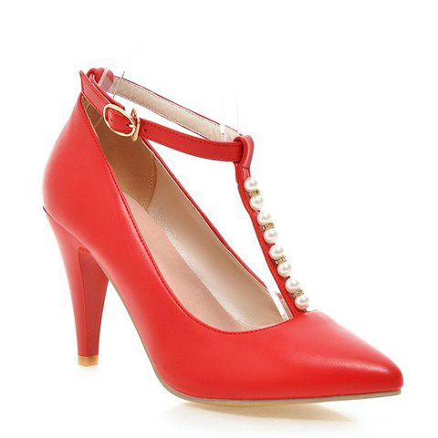 Graceful Beading and T-Strap Design Pumps For Women - RED 37