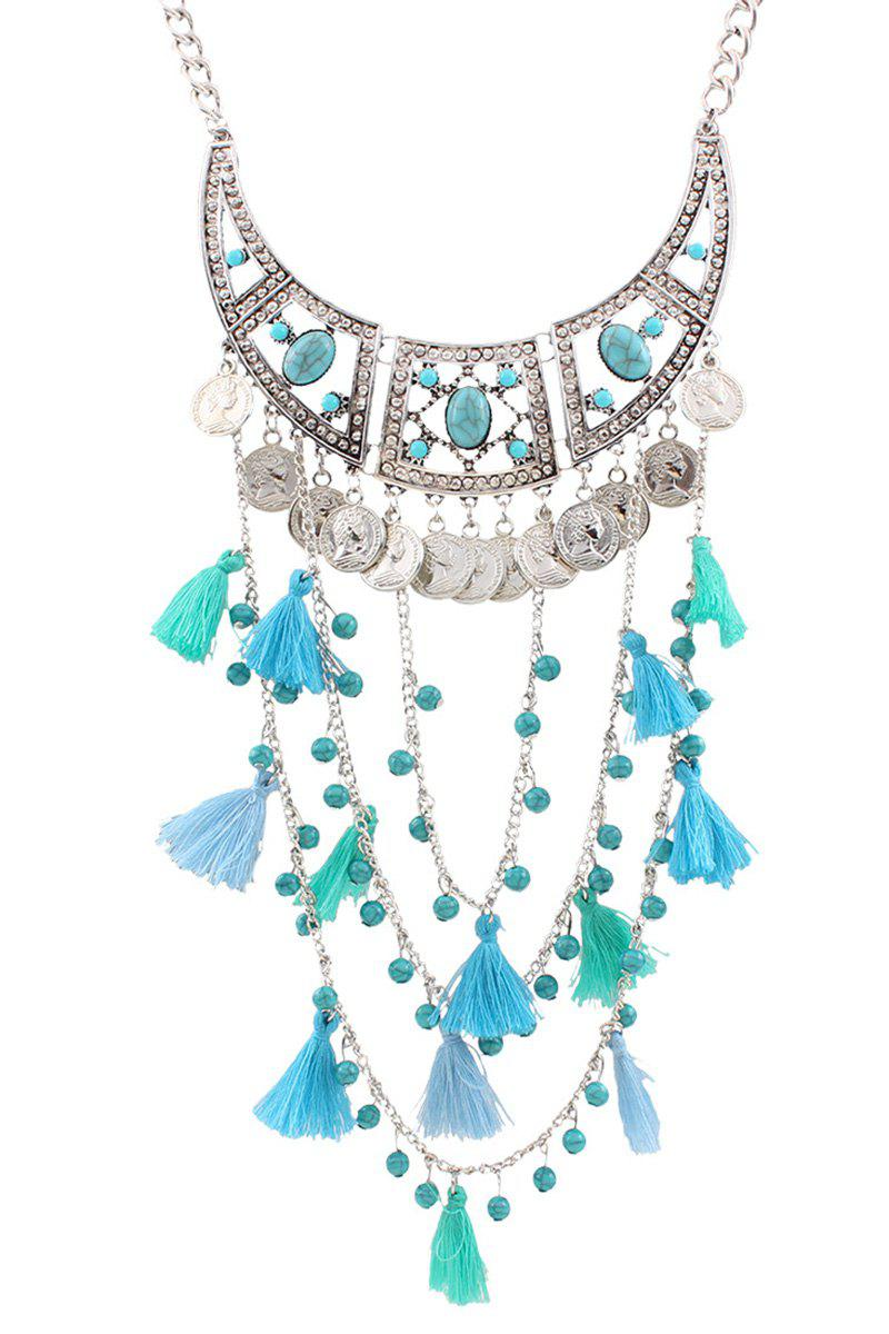 Stylish Bohemia Coin Tassel Multi-Layered Necklace For Women - BLUE