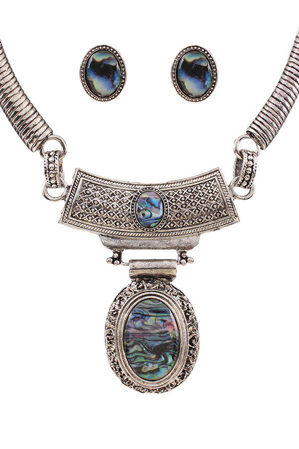A Suit of Vintage Faux Gem Oval Necklace and Earrings - SILVER