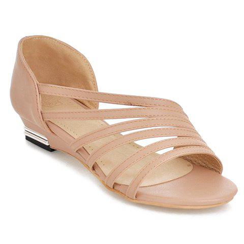 Simple Strappy and PU Leather Design Women's Sandals - APRICOT 38
