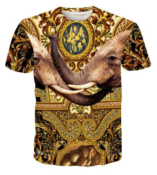 Round Neck 3D Elephants Printed Short Sleeve Men's T-Shirt - COLORMIX M