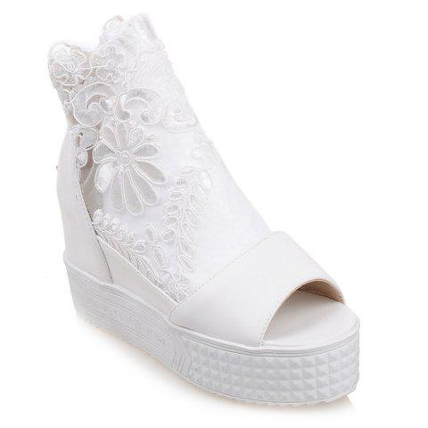Graceful Lace and Peep Toe Design Sandals For Women - WHITE 36