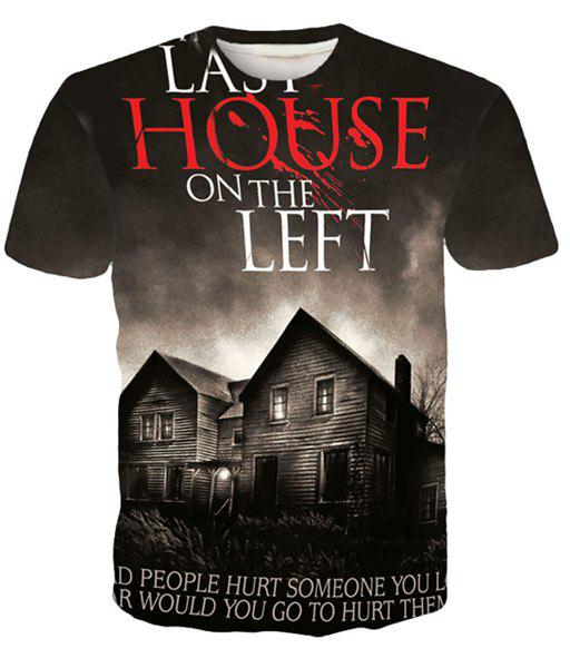 Round Neck 3D Letters and House Printed Short Sleeve Men's T-Shirt
