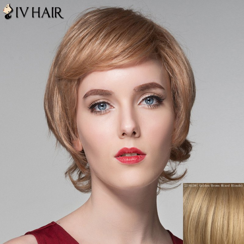 Spiffy Short Fluffy Wavy Assorted Color Side Bang Capless Human Hair Wig For Women - GOLDEN BROWN/BLONDE