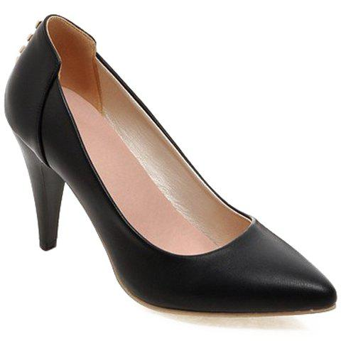 Stylish Stiletto Heel and Rivets Design Women's Pumps - BLACK 39