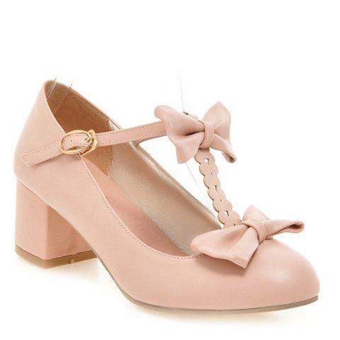 Fresh Style Chunky Heel and PU Leather Design Pumps For Women - PINK 38