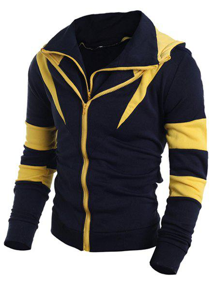 Trendy Hooded Color Block Splicing Long Sleeve Men's Sweatshirt - YELLOW M