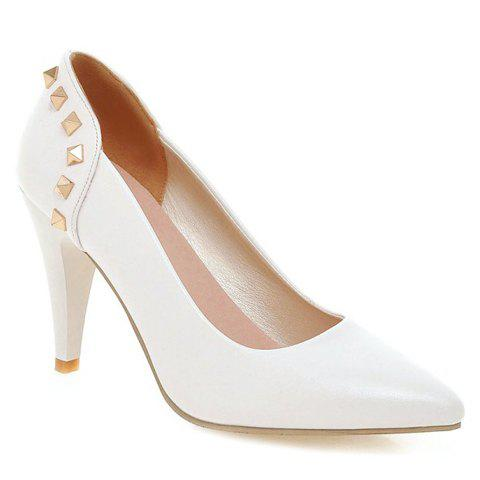 Elegant Rivet and PU Leather Design Pumps For Women - WHITE 39