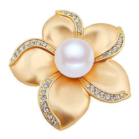 Graceful Rhinestone Faux Pearl Floral Brooch For Women