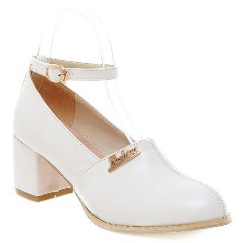 Fashionable Metal and Ankle Strap Design Women's Pumps - WHITE 38