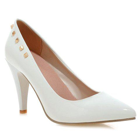 Elegant Rivet and Patent Leather Design Pumps For Women - WHITE 38