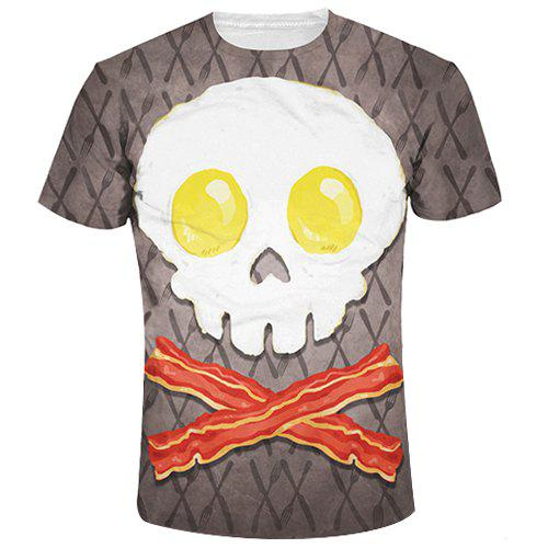 Slimming Cute Skull Printing Round Collar T-Shirt For Men - COLORMIX L