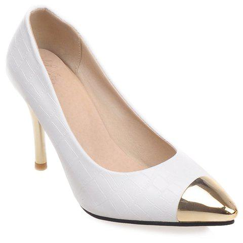 Fashionable PU Leather and Metal Toe Design Women's Pumps - WHITE 38
