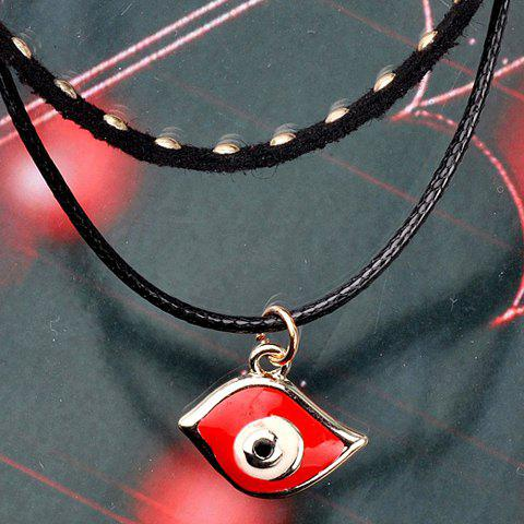Eye Faux Leather Layered Pendant Necklace - BLACK