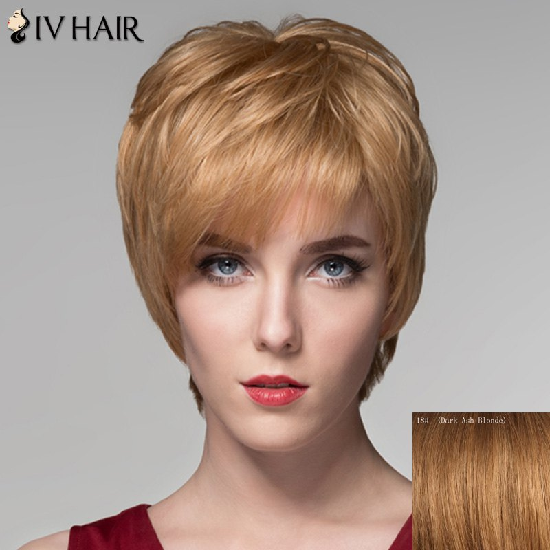 Fluffy Natural Wave Spiffy Short Inclined Bang Capless Human Hair Wig For Women -  DARK ASH BLONDE