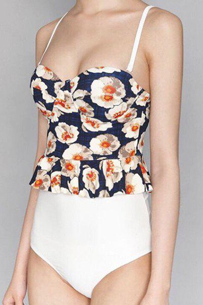 Trendy Spaghetti Strap Floral Print One Piece Swimwear For Women - WHITE M