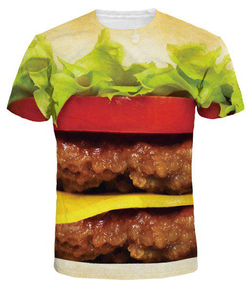Hot Sale Round Neck 3D Hamburger Print Men's Short Sleeves T-Shirt - COLORMIX L