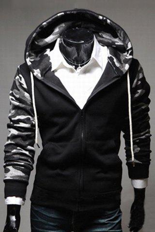 Sports Hooded Camo Print Rib Splicing Long Sleeve Men's Hoodie - GRAY M