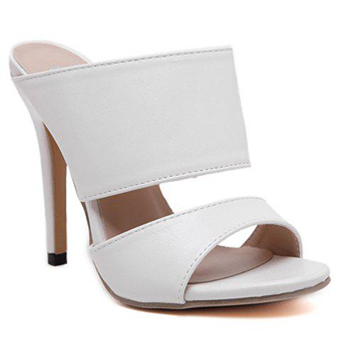 Sexy PU Leather and Super High Heel Design Sandals For Women - WHITE 35